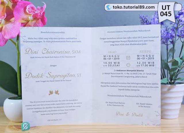 Undangan pernikahan UT045 - Seimpel Lipat 2 +free kartu ucapan terima kasih