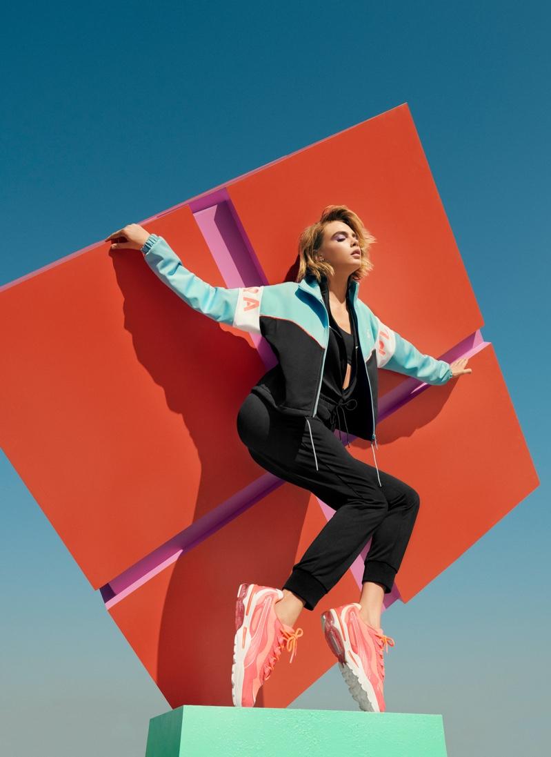 Cara Delevingne strikes a pose in PUMA Cell Stellar Neon sneaker campaign