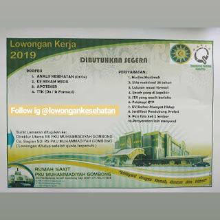 Lowongan Kerja RS PKU Muhammadiyah Gombong Jawa Tengah