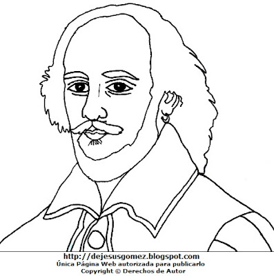 Dibujo de William Shakespeare para colorear, pintar e imprimir para niños. Dibujo hecho por Jesus Gómez