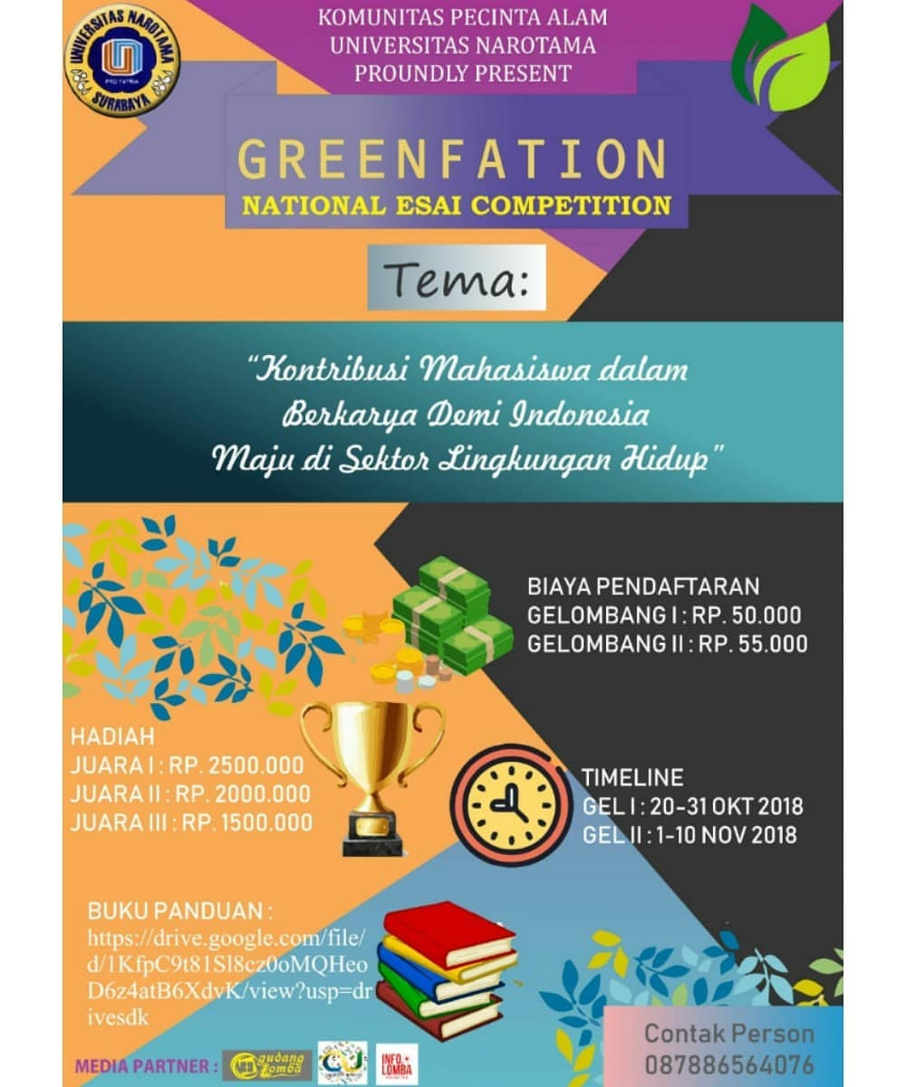 Lomba National Essay Competition Greenfation 2018 Mahasiswa