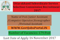 Uttarakhand Subordinate Service Selection Commission Recruitment 2017– 179 Junior Assistant/Computer Operator, Stenographer/Personal Assistant