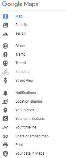 menu de google maps