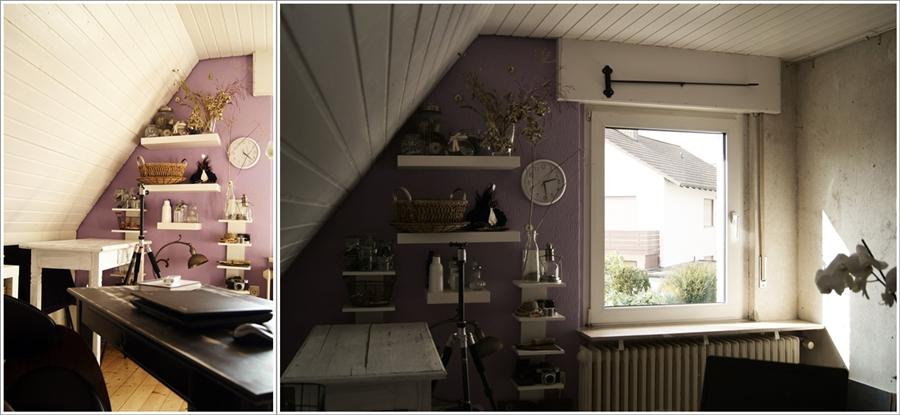 Blog + Fotografie by it's me! - fim.works - Collage FotoBüro, roh verputzte Wand, Props, Schreibtisch