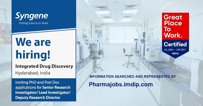 Syngene hiring Ph.D. and Post Doc. for Senior Research Investigator and more- 10th Dec 2020