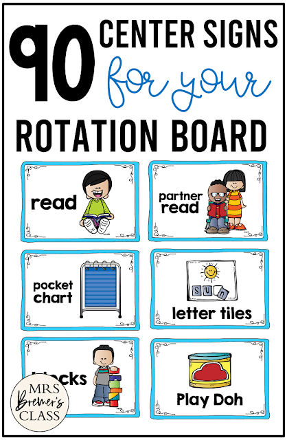 This bundle of center rotation board signs will help students know what learning activities they are to work on. This pack features 90 center signs, covering all types of learning.