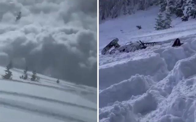 Βίντεο με την τρομακτική στιγμή που χιονοστιβάδα «θάβει» αναβάτες snowmobile