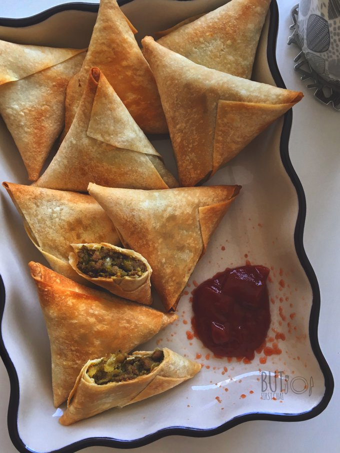 Saudi Sambosa | Mung Bean and Meat Samosas