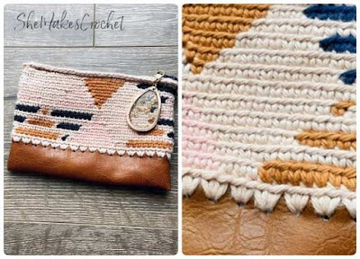 Estuche crochet técnica tapestry con cuero