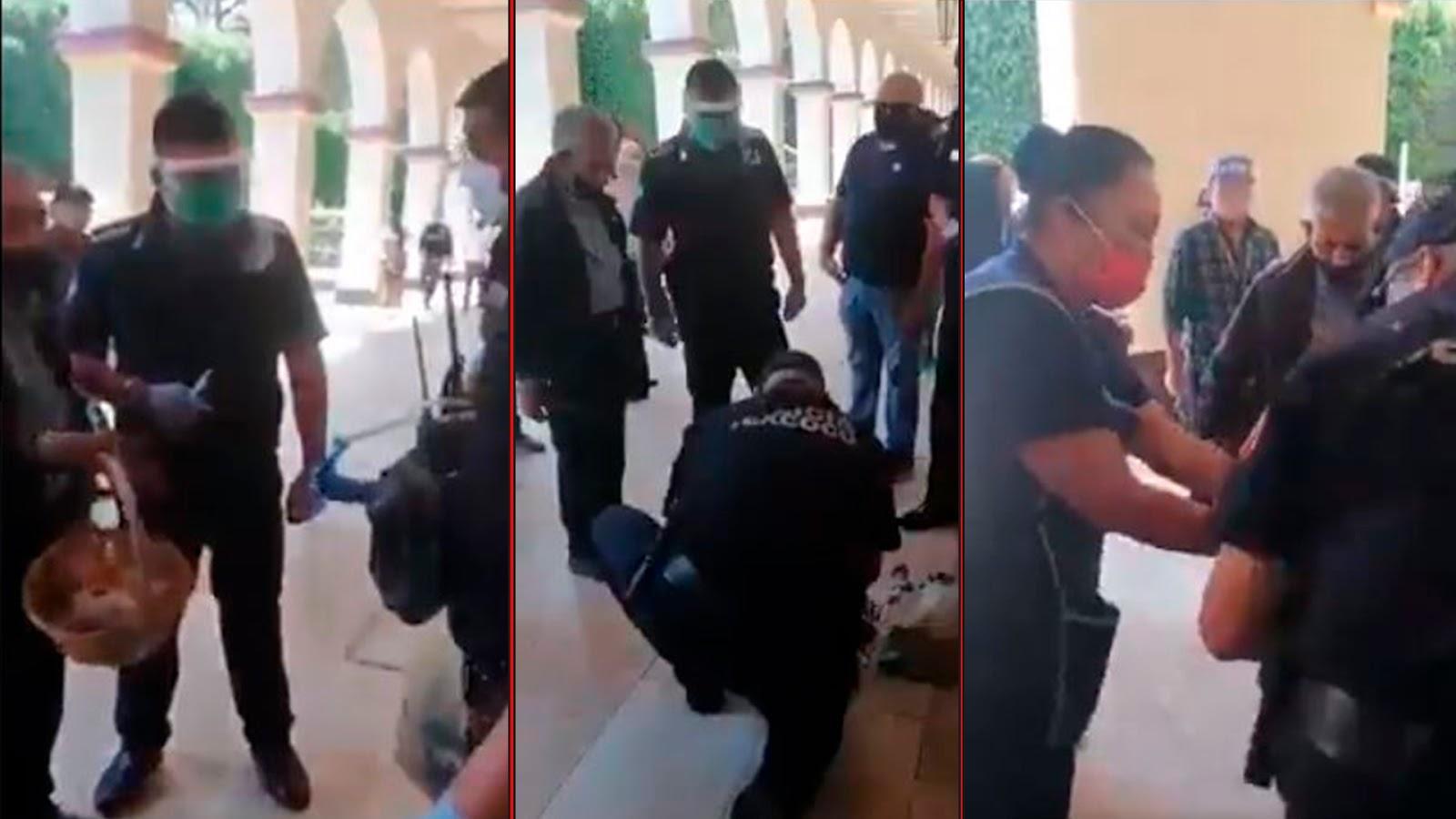Policías COMPRAN mercancía a ABUELITO para que se vaya a casa y no se EXPONGA