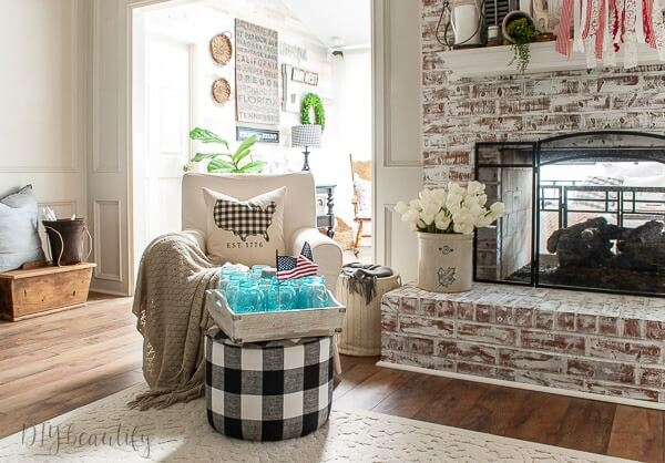 cozy summer living room corner