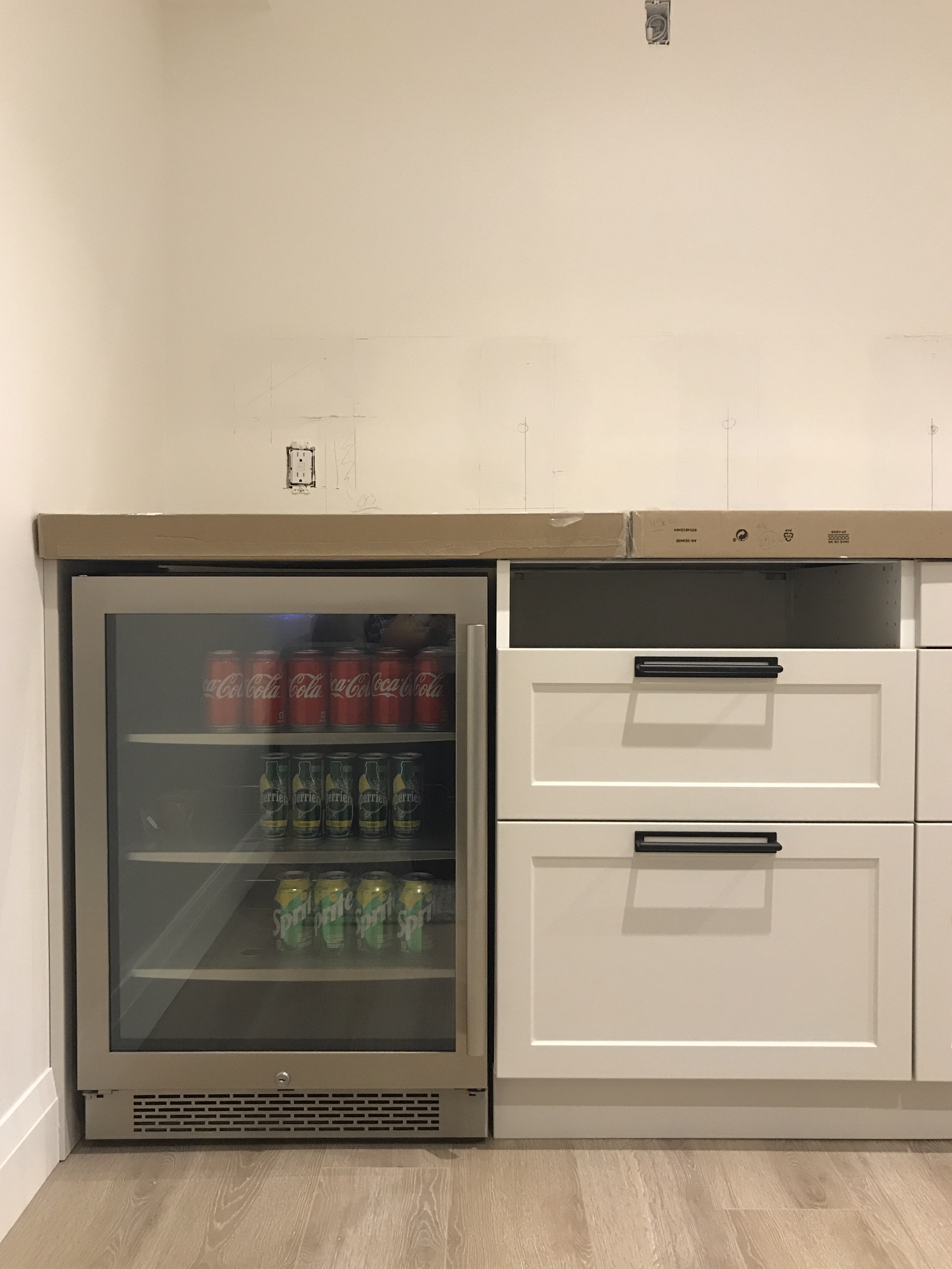 build.com beverage fridge, avallon beverage centre, drinks fridge, basement kitchen fridge