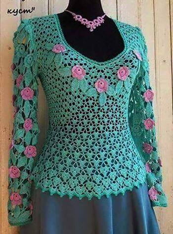 Patrón #1091: Blusa a Crochet