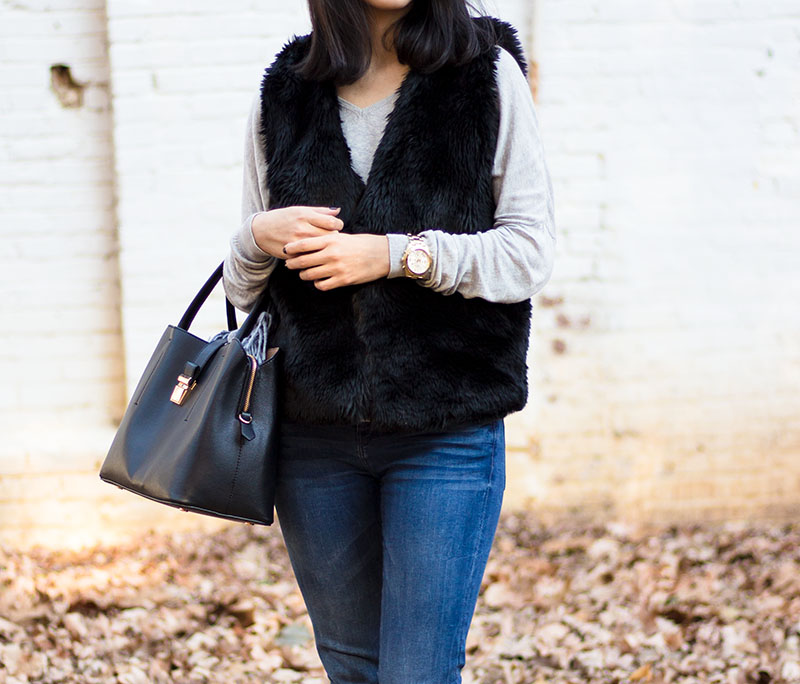 How To Style Faux Fur Vest Outfit