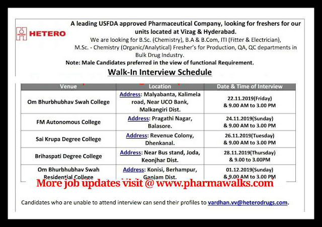 Hetero Labs walk-in interview for Freshers on 24th November, 2019 @ Various places in Odisa