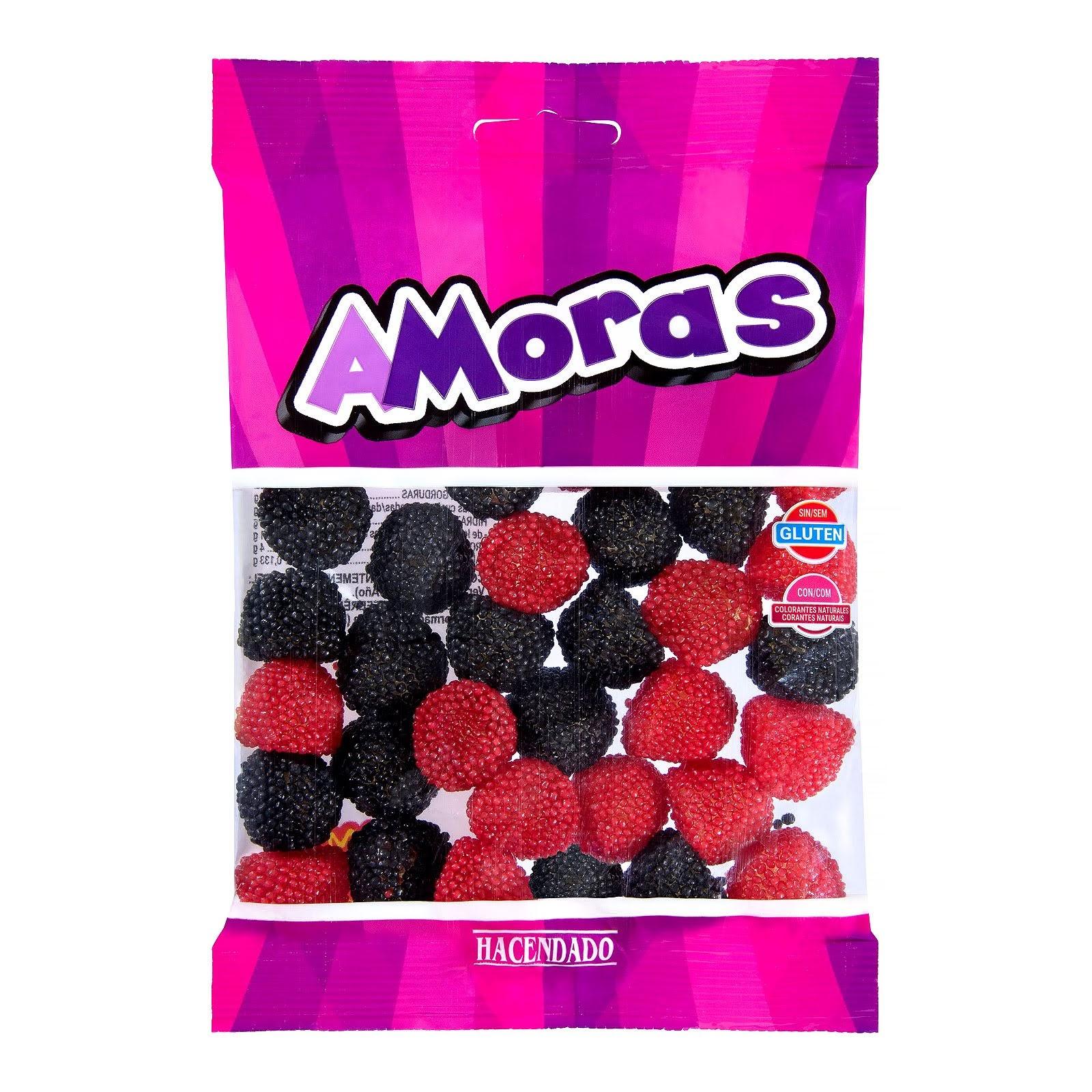 Golosinas negras y rojas con bolitas de azúcar Moras Hacendado