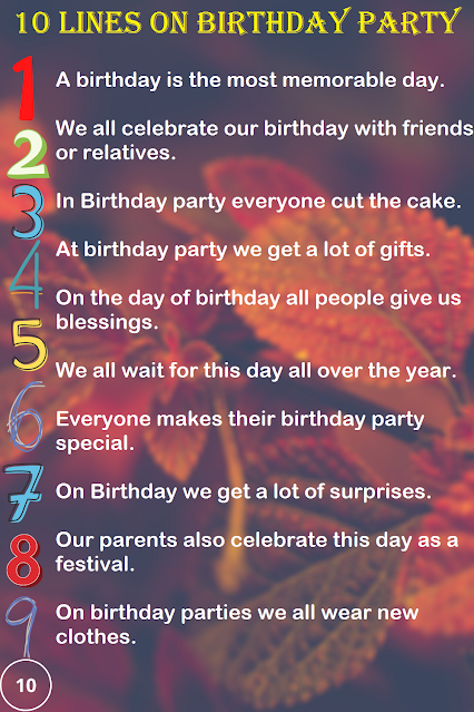 Short Few Lines Essay on Birthday Party