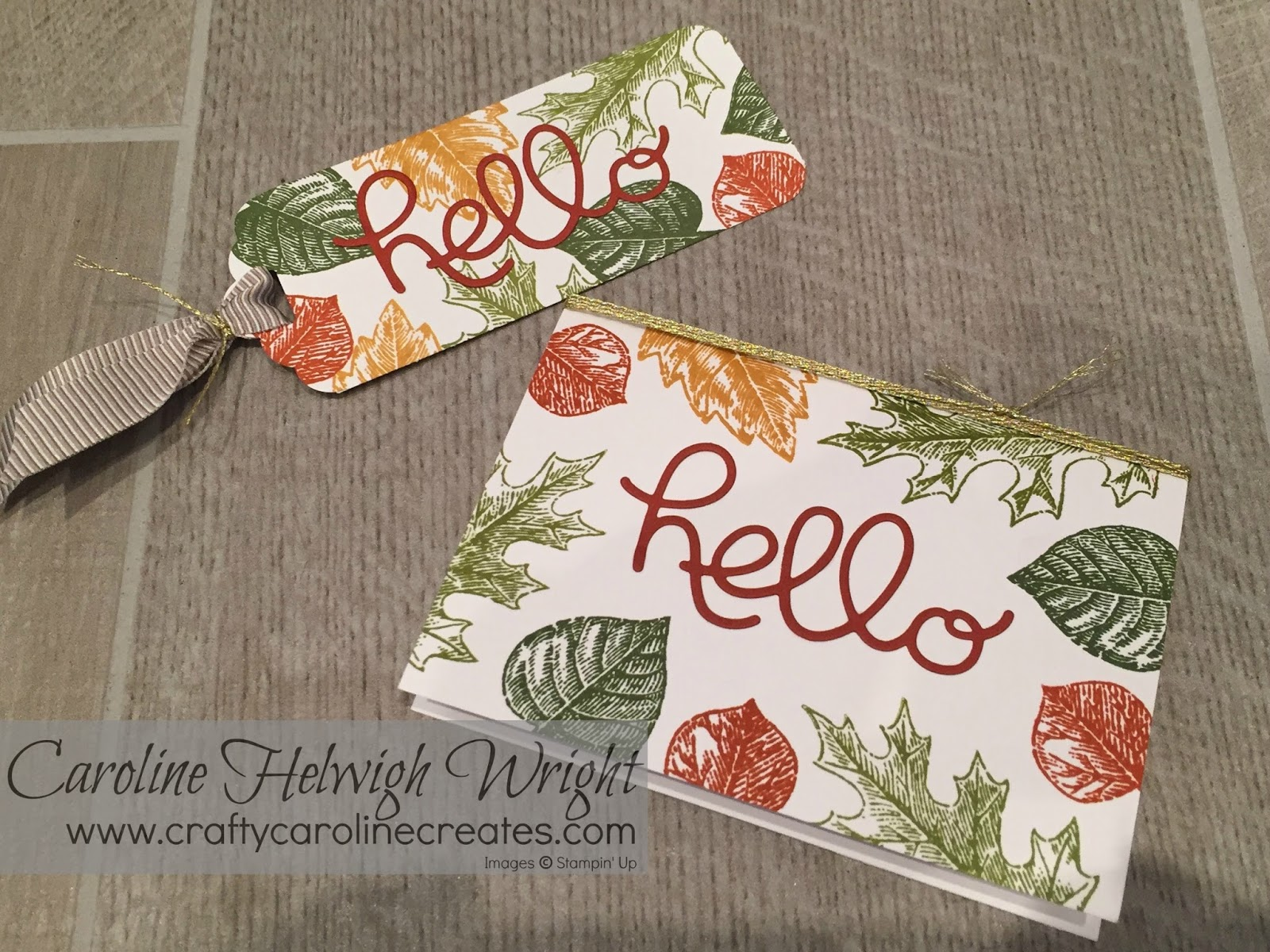 Craftycarolinecreates Hello Handmade Card With Vintage Leaves By