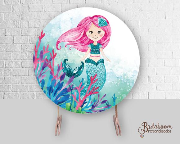 Sereia, pequena sereia, fundo do mar, painel, arte digital, arte personalizada, festa infantil