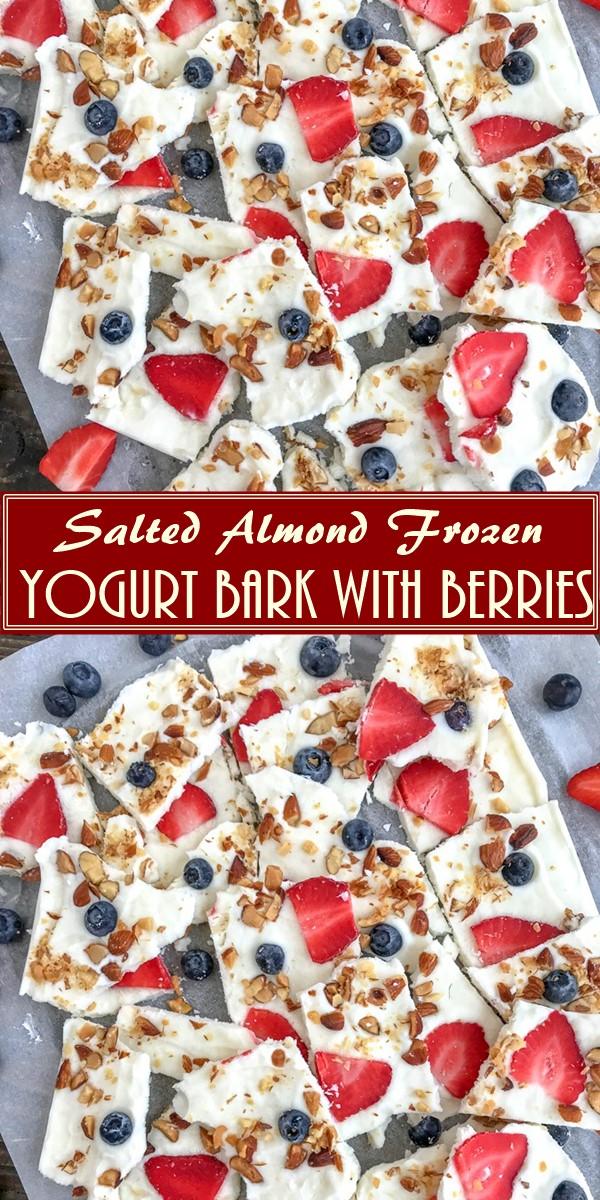 Salted Almond Frozen Yogurt Bark with Berries #dessertrecipes