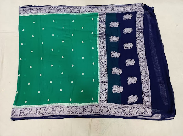 Pure Georgette Chiffon navy blue colour saree