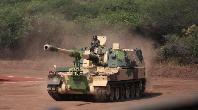 Image Attribute: A K9 VAJRA-T 155mm/ 52 caliber self-propelled howitzer at its formal induction into the Army at the Deolali Artillery Centre in Nashik district. / Source: Press Trust of India
