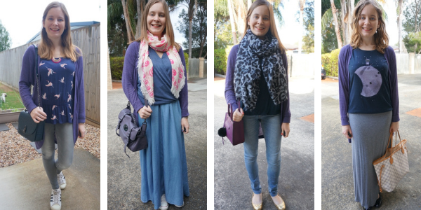 four purple and blue outfit ideas awayfromblue blog with purple cardigan