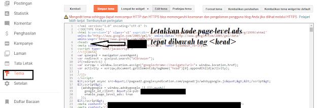 Cara meletakkan iklan page-level ads adsense di blog