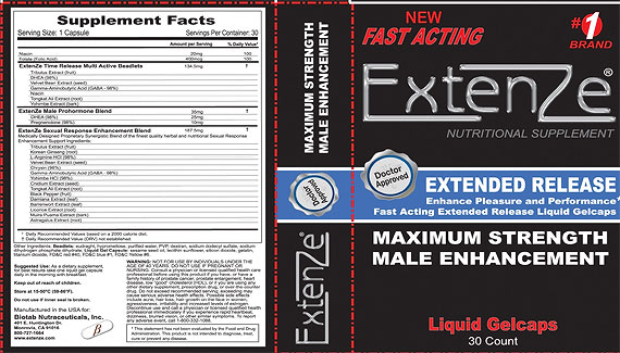 Extenze Gel Caps Ingredients