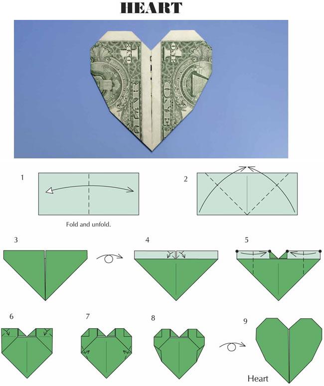 Easy Folding Money Heart