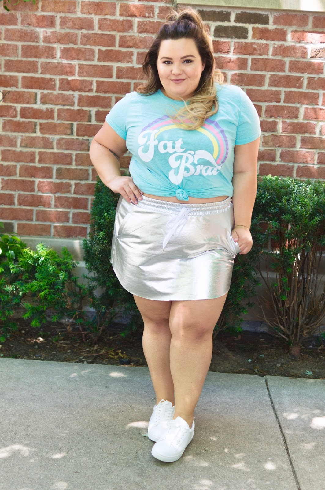 fat acceptance, fat girl flow, corissa, fat brat t-shirt, reclaim fat, fat is not a bad word, natalie in the city, Chicago, plus size fashion blogger, Chicago plus size fashion blogger, scorch magazine, fat and fabulous, curves and confidence, midwest blogger, Chicago fashion, forever 21 metallic skirt
