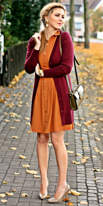 Need Style Inspiration for Fall Season. See these 31 Most Popular Fall Outfits to Truly Feel Fantastic. Fall Style via higiggle.com | dress + cardigan | #fall #falloutfits #fashion #cardigan