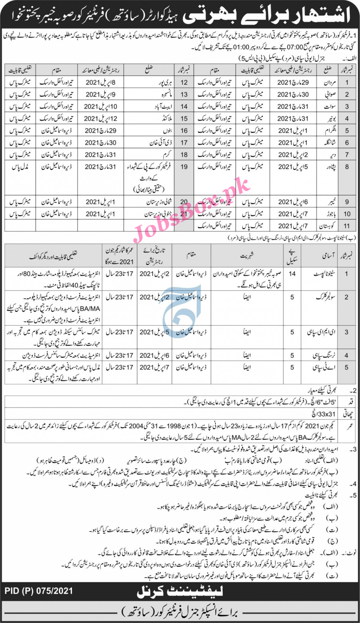 Latest Pak Army Frontier Corps FC Jobs 2021