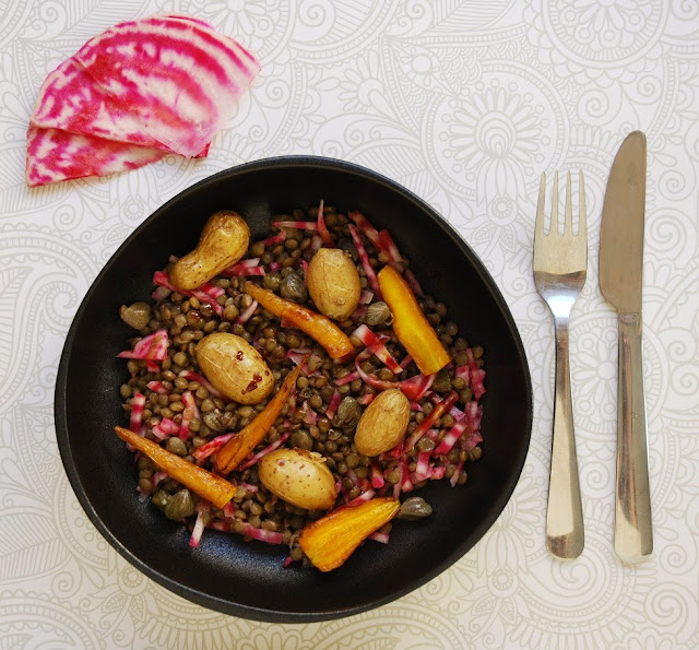 Salade lentilles-betterave de Chioggia
