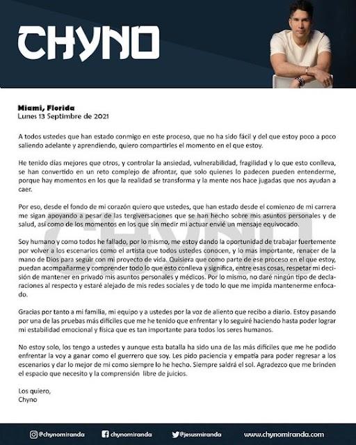 Chyno anuncia que se retira de las redes tras sus escándalos de traición y drogas