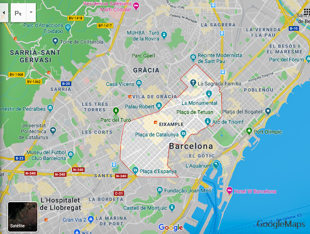 Mapa do Eixample, Barcelona