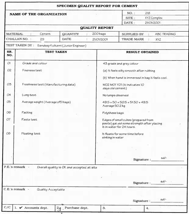 Quality tests report for cement