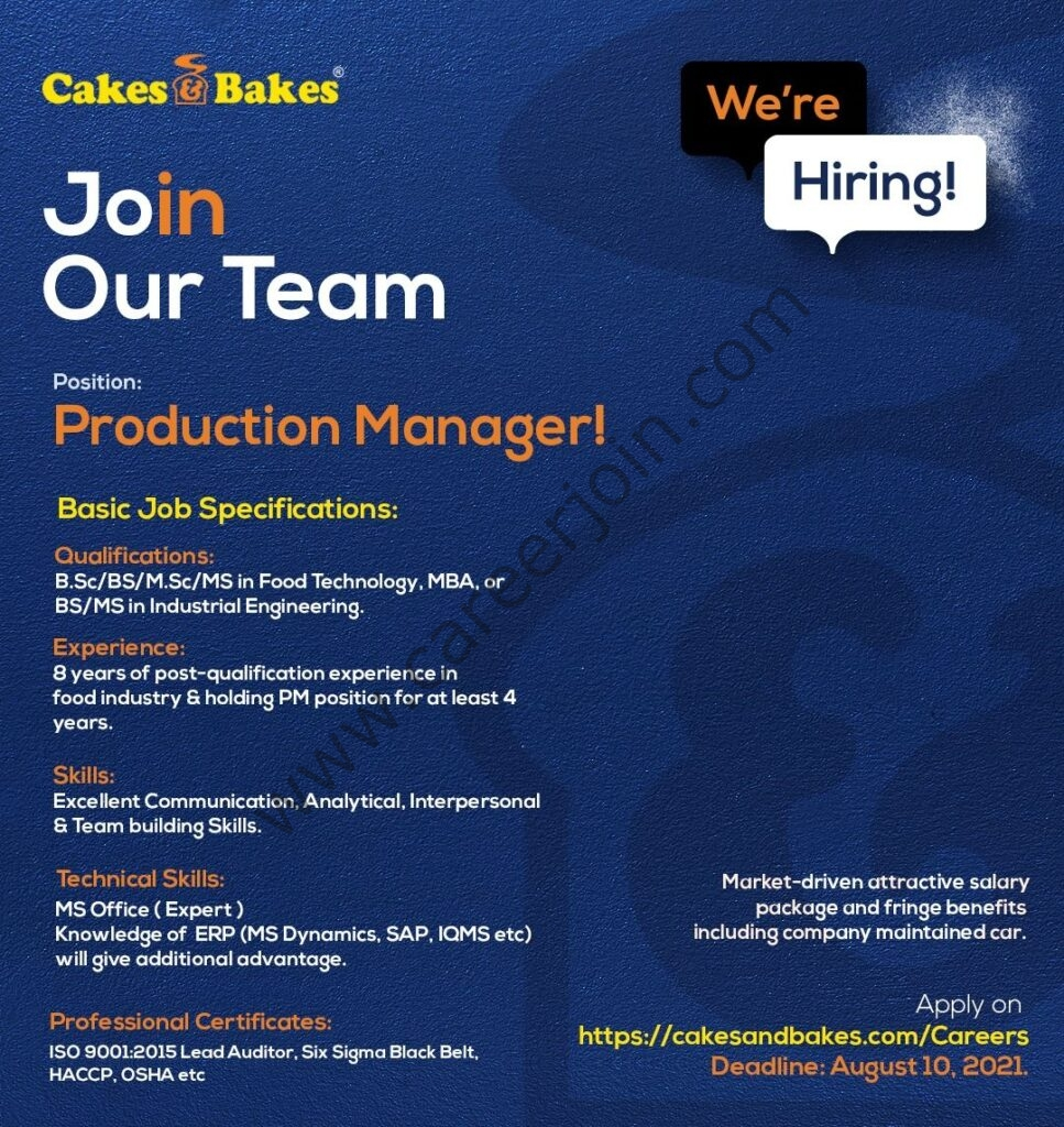 Cakes & Bakes Pakistan Jobs Production Manager