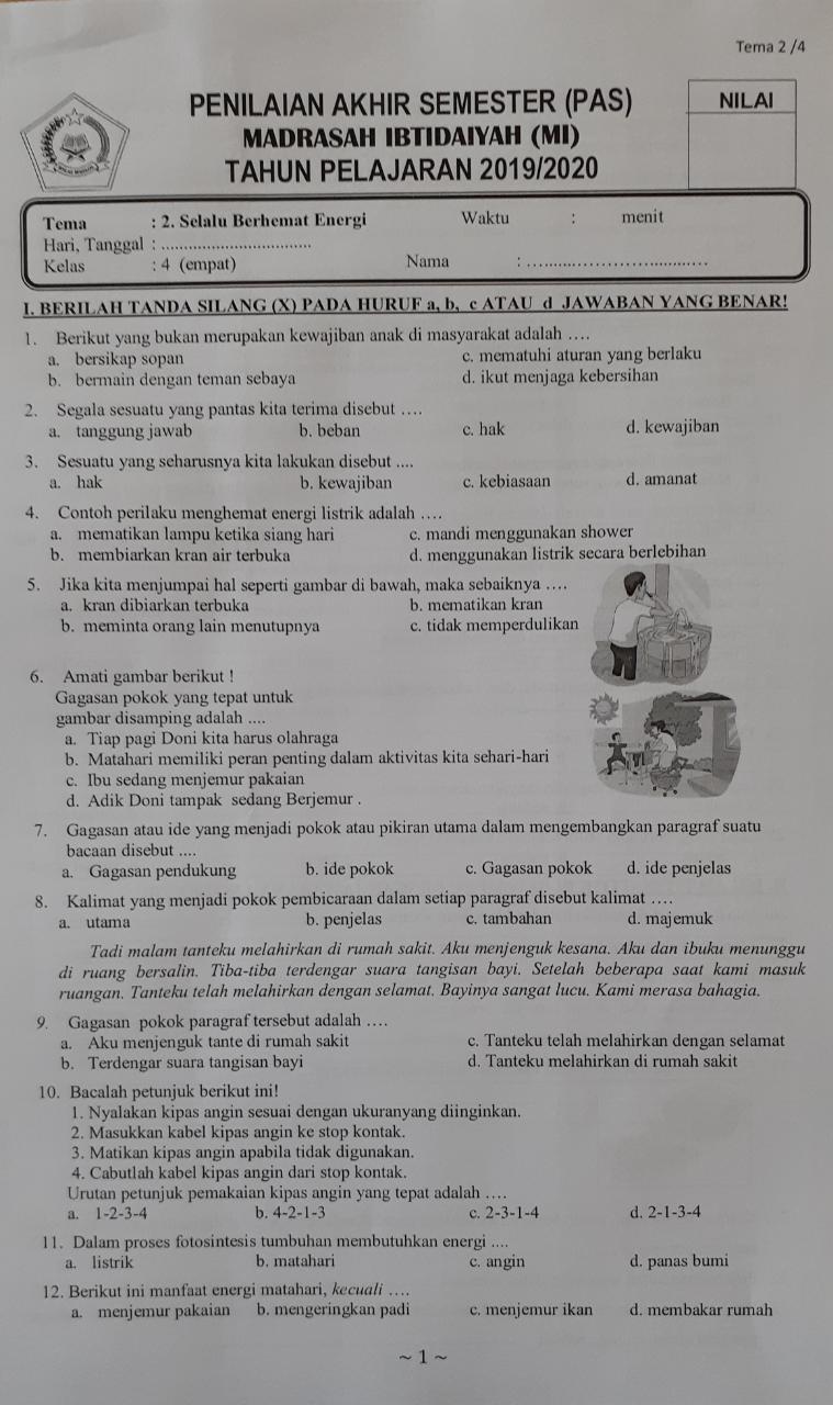 Contoh Soal Tema 2 Kelas 4 Semester Ganjil, Selalu Berhemat Energi