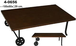 Mesa baja para sofa en forja y madera nogal