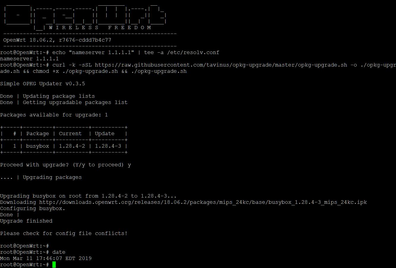 12897070056: Easy update LEDE Reboot 17 01 3 with opkg script