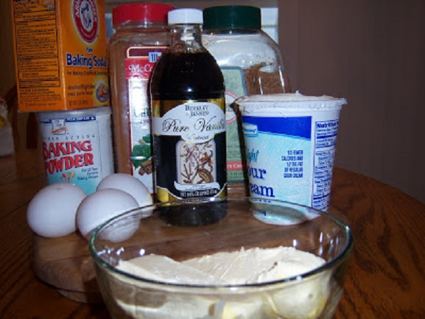 this is all the prep work with eggs, baking powder, sugar, flour, sour cream for a coffee cake