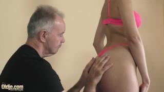 Teen-sucking-grandpas-cock-and-taking-cum-in-face