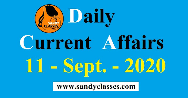 Daily Current Affairs in Hindi / English - 11 September 2020