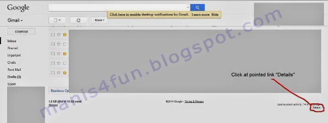 """Figure for notify the word """"details"""" in Google Gmail Account to sign out all Google Account"""