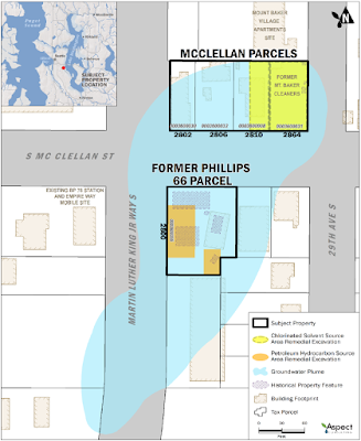 A map shows property parcels at the intersection of McClellan Street and Martin Luther King, Junior, Way. Shading shows areas at a former dry cleaner and at a former gas station where soil will be removed. Other shading shows the estimated location of groundwater that is contaminated with solvent chemicals.