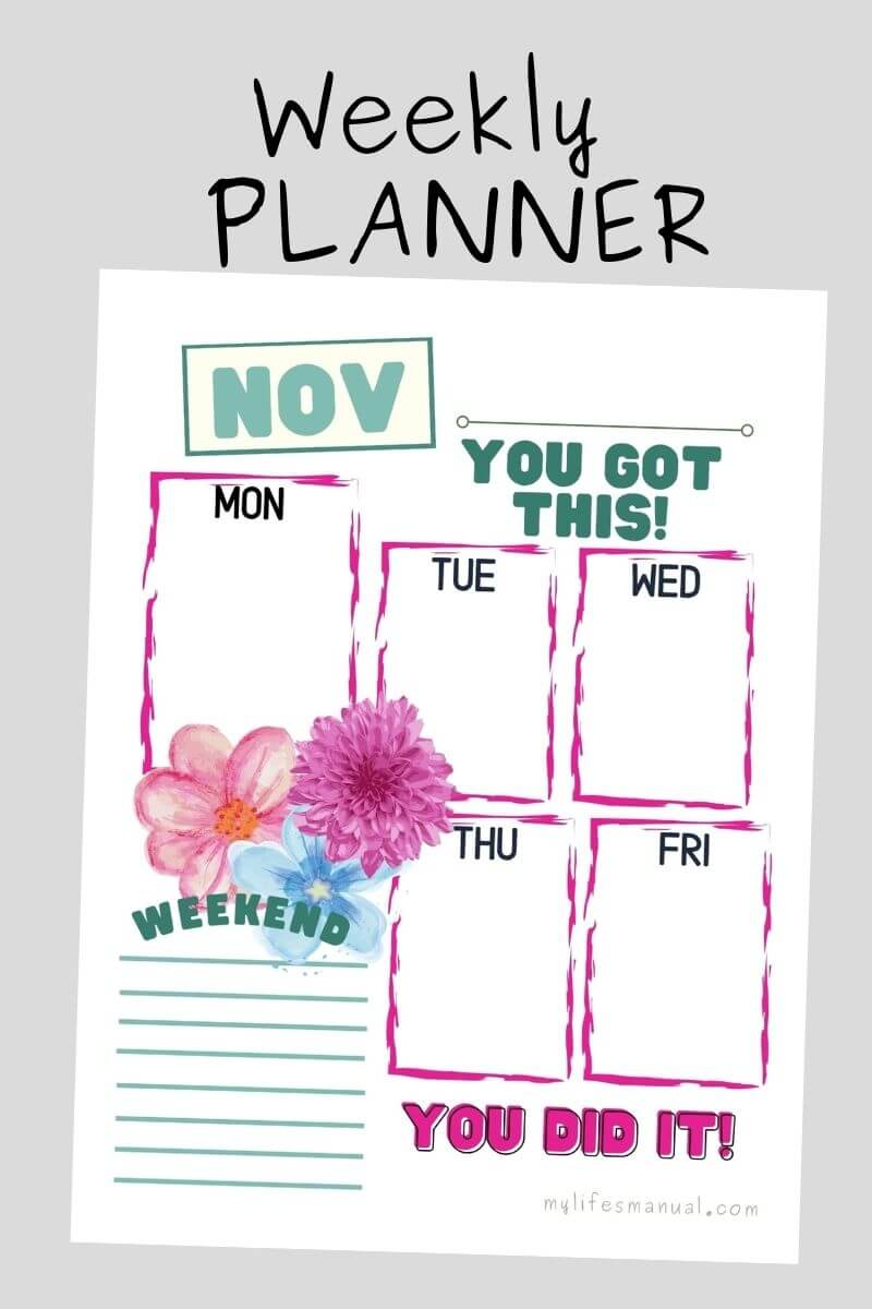 Free Pretty Weekly Planner Printables