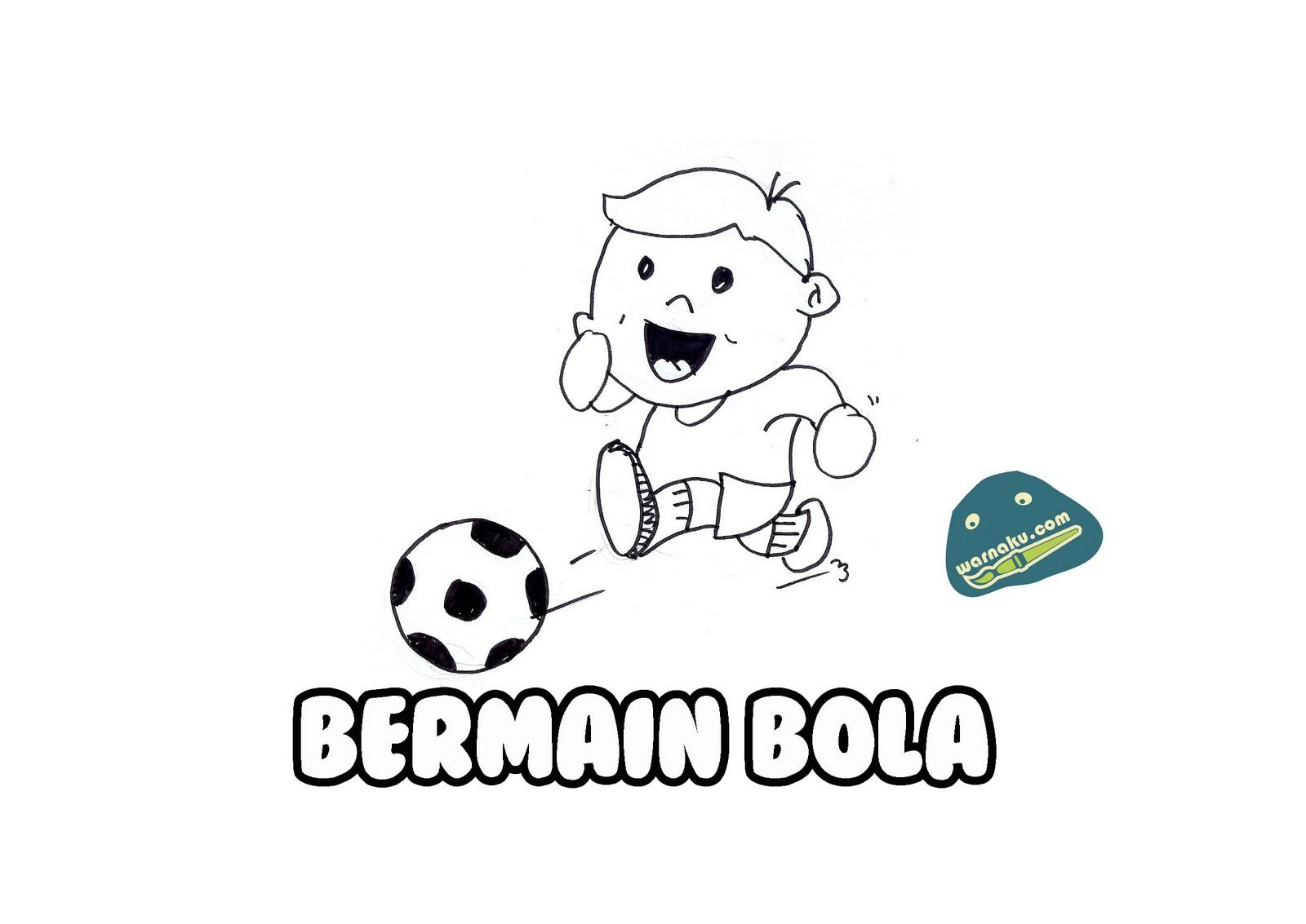 Gambar Sketsa Anak Bermain Bola | Sobsketsa