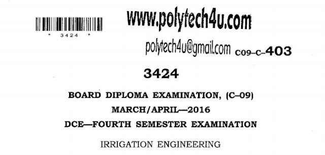 SBTET AP IRRIGATION ENGINEERING PREVIOUS QUESTION PAPER