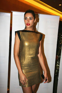 Nargis Fakhri in Sexy Golden Mini Dress